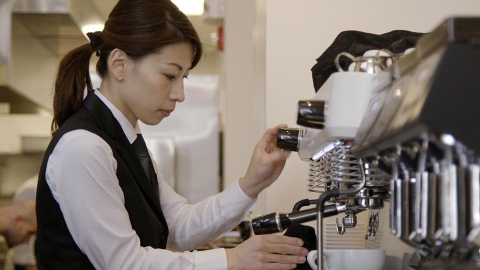 Haruna Murayama prepared a latte at Ogawa Coffee's first US location, on Milk Street in Boston.